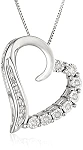 10k White Gold Round-Shaped Diamond Heart-Pendant Necklace (1/10 cttw, I-J Color, I2-I3 Clarity), 18""