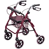 Homecraft 09 116 9945 Lightweight Folding 4 Wheel Rollator Walker with Padded Seat, Backrest, Lockable Brakes, Height Adjustable Handles and Carry Basket - Ruby Red