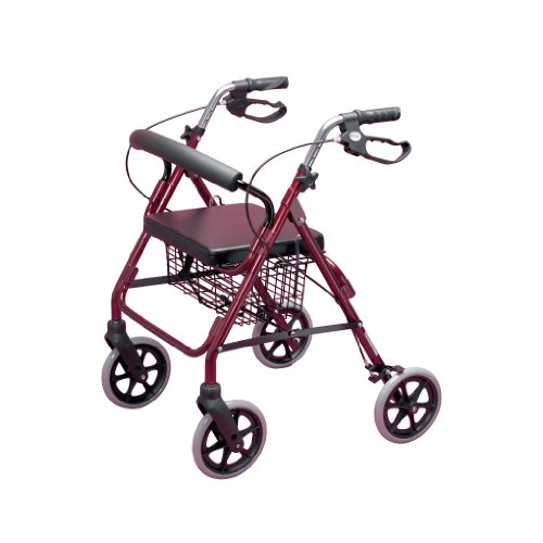 Homecraft - Andador con frenos y 4 ruedas, color rojo