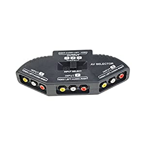 Cable N Wireless 3-Way Audio Video RCA Composite AV Video Game Selector Switch Box Splitter