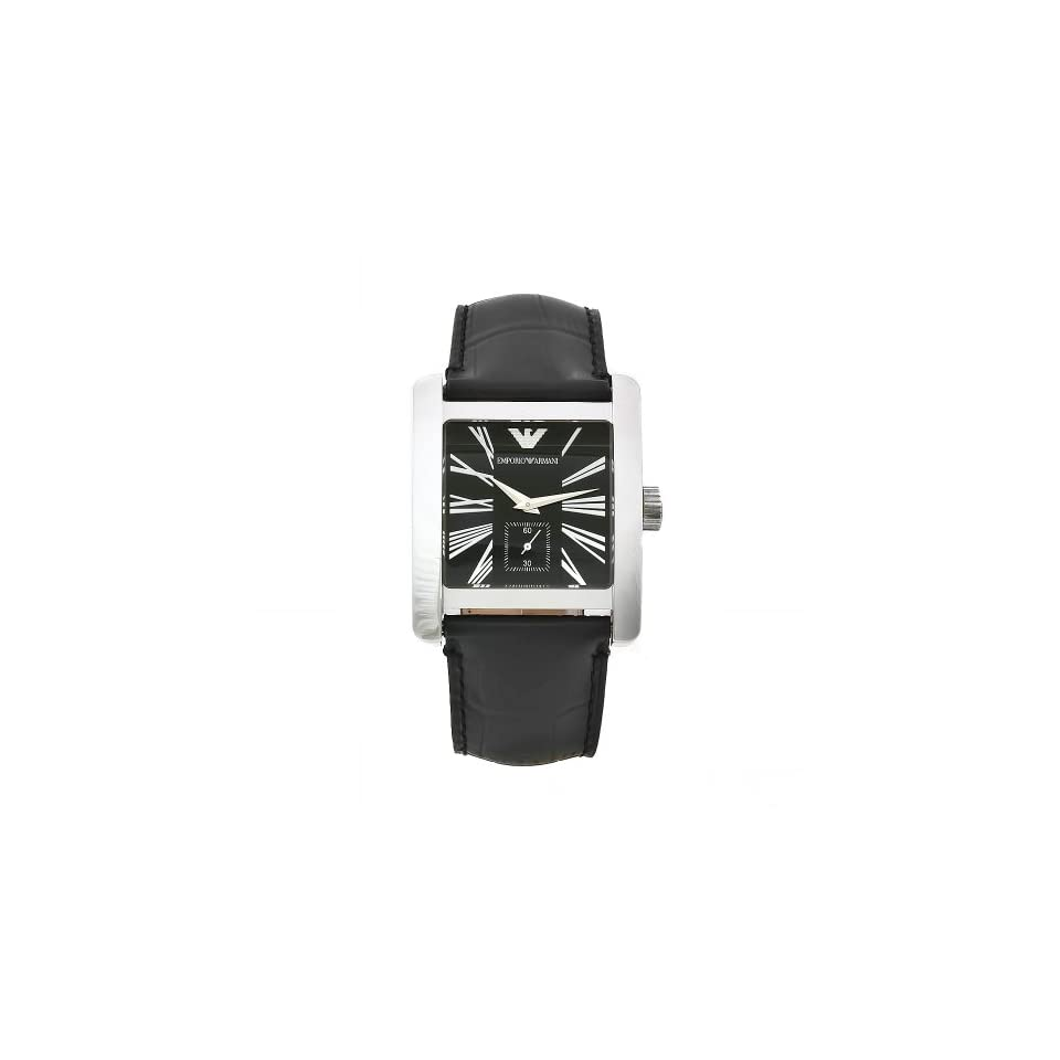 Emporio Armani Mens AR0180 Classic Black Leather Band Watch