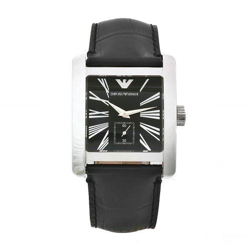 Emporio Armani AR0180 - Reloj analógico de cuarzo para hombre con correa de piel, color negro
