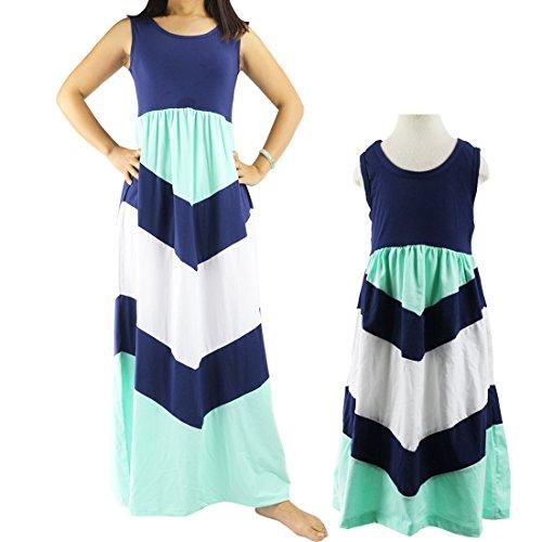Wennikids Cotton Material Mommy and Me Chevron Maxi Dress Navy Blue Women Medium