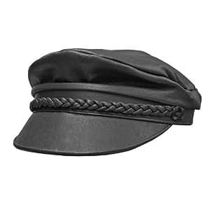 Carroll Leather Braid Trim Flat Top Cap (Black, Medium)