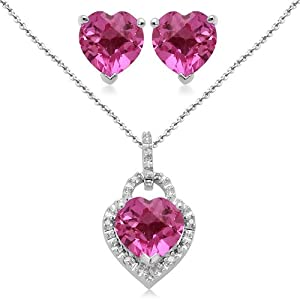 Sterling Silver Heart Created Pink Sapphire and Diamond Ring Pendant Necklace and Earrings Box Set, Size 7 from Amazon Curated Collection