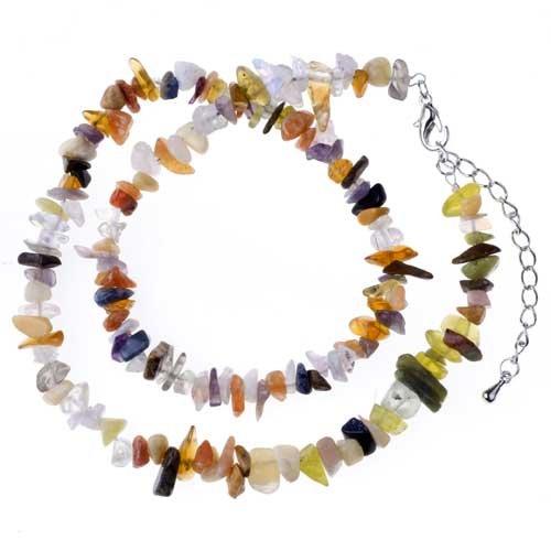Pugster Topaz Semi Precious Chip Stone Necklace Gift Center