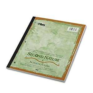 TOPS® Second Nature Subject Notebook, College Margin/Rule, Ltr, White, 80 Sheets