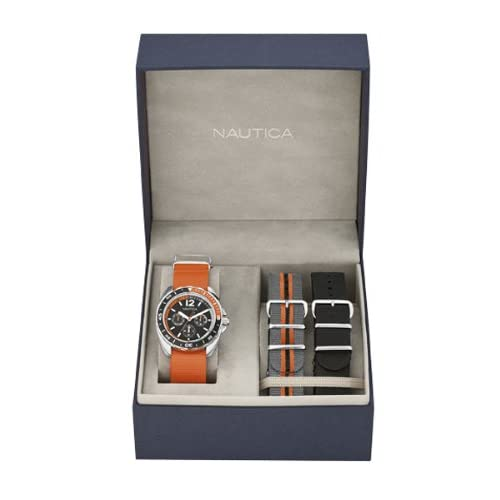 Nautica-Sport-Mens-Quartz-Watch-with-Black-Dial-Analogue-Display-and-Orange-Nyl