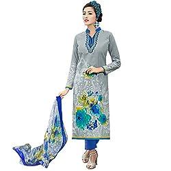 Shelina Women Grey Cotton Printed Salwar Suit