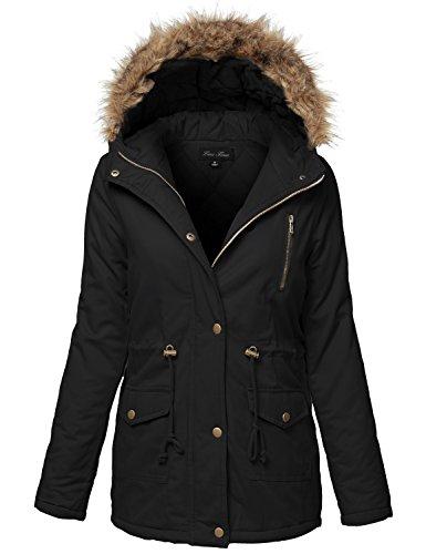 Warm Fur Trim Removable Hoodie Utility Jackets