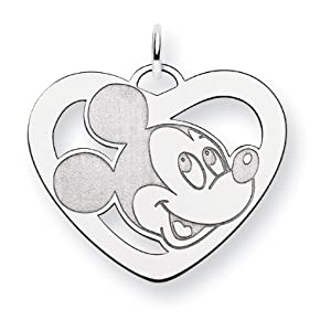Sterling Silver Disney Mickey Heart Charm - JewelryWeb