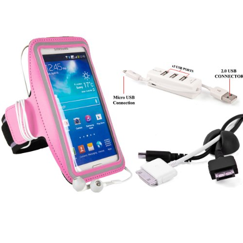 Sumaclife Sports Exercise Armband For Sony Xperia Z1 Compact, E1, M2, L (A), Z1, Zl, Z Tx, T Smartphone + Cord Organizer + 3 Port Usb Hub