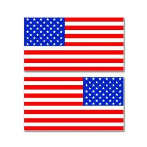United States American Country Flag Mirror Image - Sheet of 2 - Window Bumper Stickers