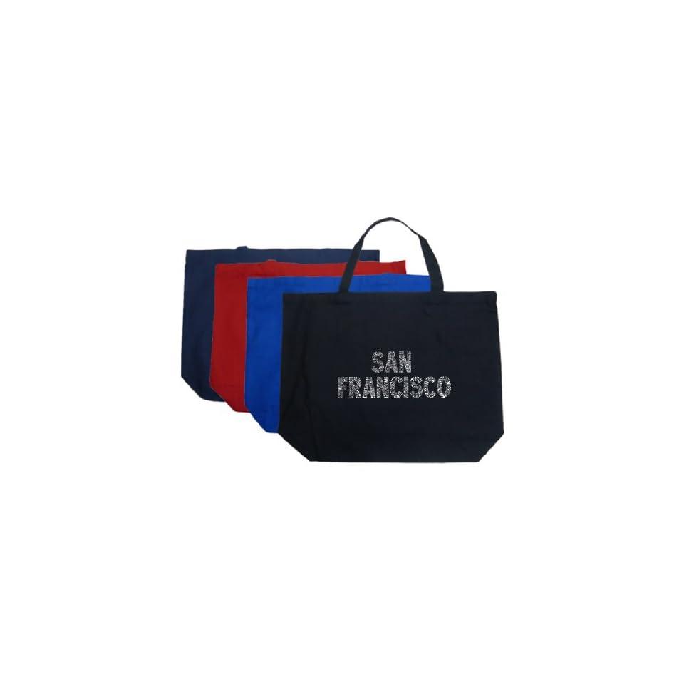 Large Black San Francisco Tote Bag   Created using San Franciscos most popular neighborhoods