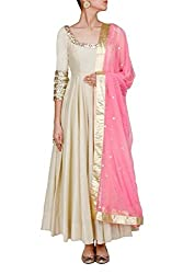Metroz Off White Tapeta Silk embroidered Anarkali Suit with dupatta