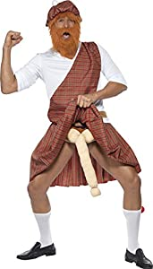 Smiffy's Men's Well Hung Highlander Costume Hat Beard Top Sash Kilt Sporran Socks and Endowment, Multi, Medium