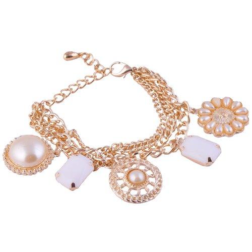 Monisha Daga Mixed Charm Golden Bracelet BT44-G for Women (multicolor)