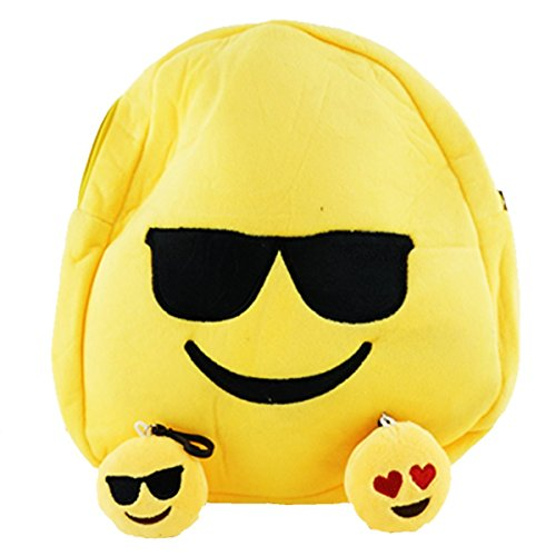 Best Emoji Backpack for Boys & Girls, Rave or School Ready Winky Face Emoji Bag with Free Keychain (Sunglasses)