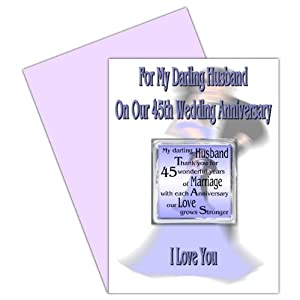 45th Wedding Anniversary Gift Ideas For Husband : Husband 45th Wedding Anniversary Card With Removable Magnet Gift45 ...