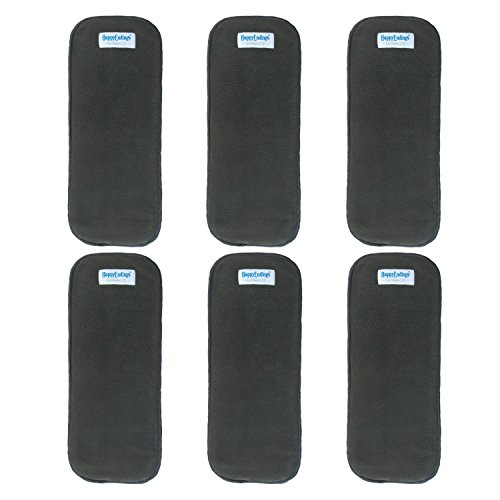 (6 Pack) HappyEndingsTM 5 Layer Charcoal Bamboo Inserts for Cloth Diapers (5 Layer Charcoal Bamboo Inserts (6 Pack))