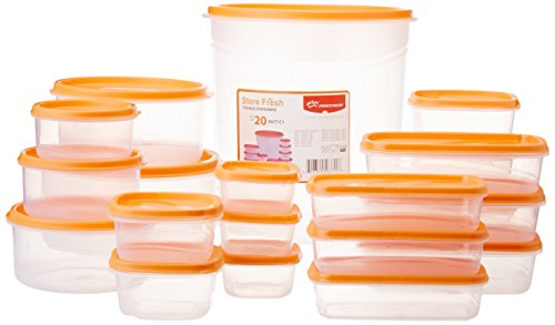 Princeware SF Tal Pak Container Set, 20-Pieces, Orange