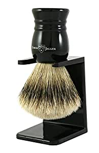 Edwin Jagger Super Badger Hair Shaving Brush with Drip Stand - Large, Imitation Ebony