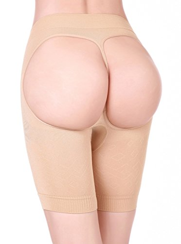HOLYSNOW Women Open Crotch Bodysuit Belly Fat Trainer Booty Lifters Beige S (Xsmall Butt Lifter compare prices)