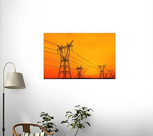 Electricity Pylons Wall Decal - 48 Inches W X 37 Inches H - Peel And Stick Removable Graphic