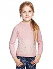 Autograph Floral Lace Jumper with Angora