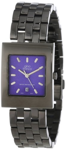 gino franco Men's 927BL Square Gunmetal Ion-Plated Bracelet Watch