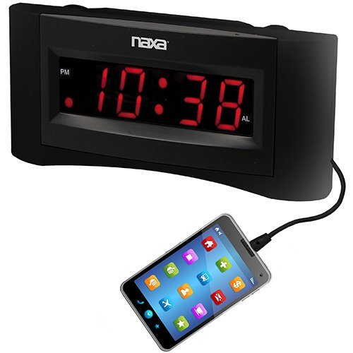 Easy Read Dual Alarm Clock w/USB Charger