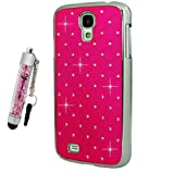 Samsung Galaxy S4 / i9500 Pink Chrome Finish Crystal Diamond Design Bling Hard Back Case Plus Crystal Pink Mini Stylus Pen, Screen Protector & Screen Polishing Cloth