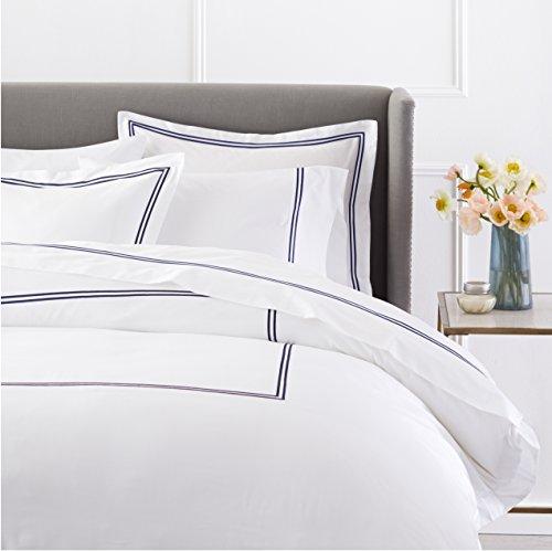 Pinzon 400-Thread-Count Hotel Stitch Duvet Cover - King, Navy Stripes (Hotel Stripe Duvet Cover compare prices)