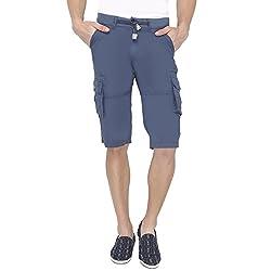 Origin Blue Cotton Solid Capris for Men