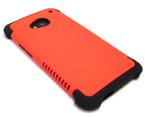 Cell-Nerds Nerdshield Grip Case Cover For The Htc One (Htc M7) - Cell-Nerds Packaging (Neon Orange On Black)