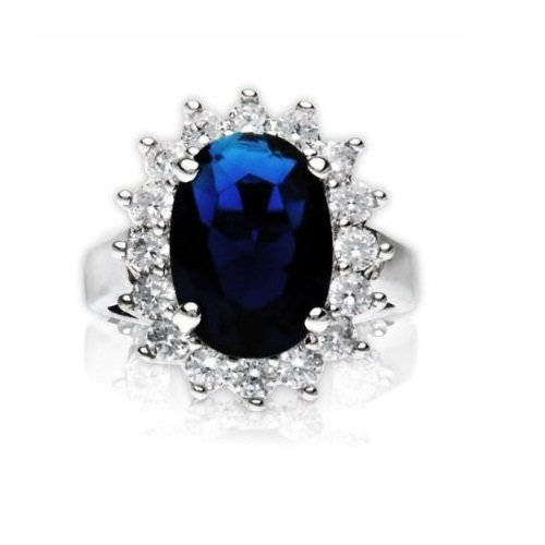 British Royal Wedding Blue Sapphire CZ Engagement Ring Kate Middleton Size 7