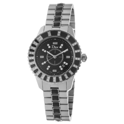 Christian Dior Women's CD113115M001 Christal Black Dial Diamond Watch