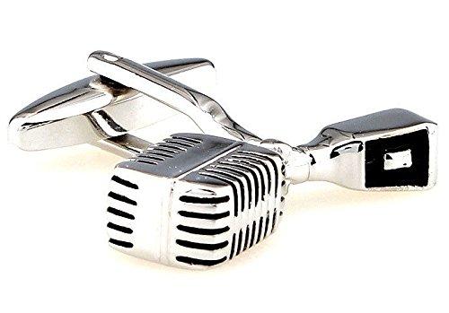 Old-School trasmesso Microfono d'argento con bottoni neri bracciale Musica