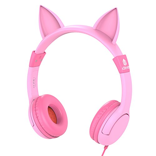 iClever BoostCare Kids Headphones Cat Over the Ear Headsets with Volume Limiting Technology,Pink
