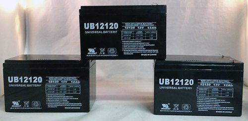 12V 12Ah Scooter Bike Battery Replaces Enduring Cb12-12, Cb 12-12 - 3 Pack