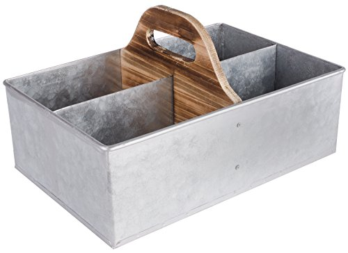 Dwellbee Rustic Wood and Metal Cleaning Caddy and Gardening Tote, Rectangular (Pine Wood, Galvanized Steel) (Cleaning Container compare prices)