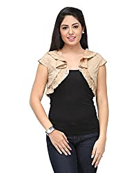Cappadocia Women's Slim Fit Shrug (Cap00006 Beige_L, Beige, Large)
