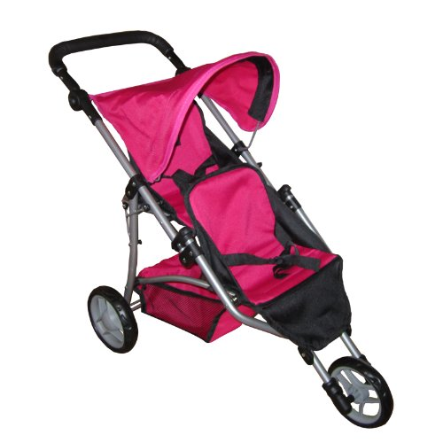 The New York Doll Collection My First Doll Twin Jogging Stroller, Pink/Black Amazon.com