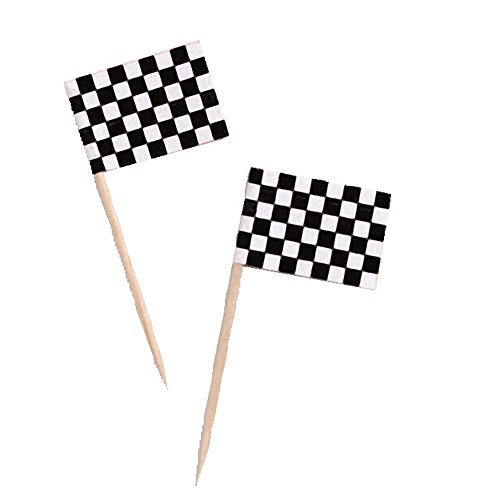 """Creative Converting 50 Count Black and White Check Flag Picks, 2.5"""""""