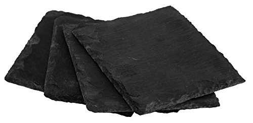 Magjo Slate Serving Plate and Cheese Tray (Set of Four 4 inch coasters)