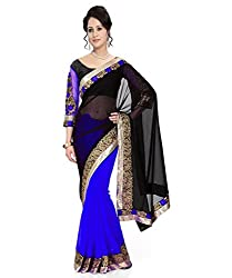 Winza Half Half Black and blue Party Wear Embroidered Chiffon Saree for Women ( with discount and sale offer)