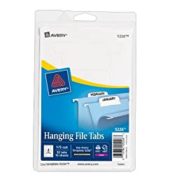 Avery Print or Write Hanging File Tabs for Laser Printers, 1/5 Cut, White, Pack of 24 (5226)