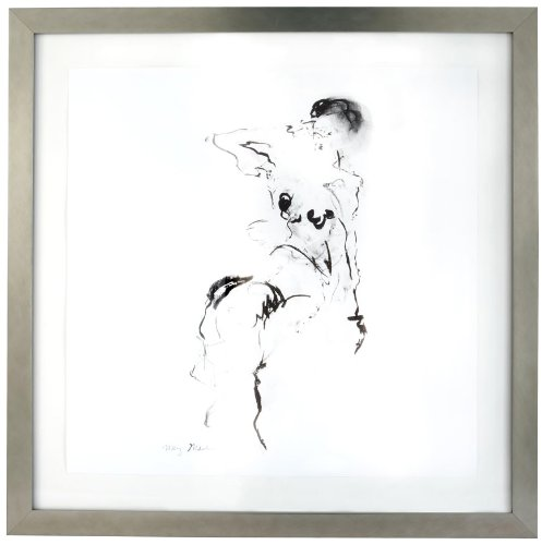 Gilded Barn Charcoal and Ink Nude with Silver Leaf Frame
