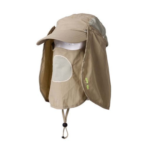 Flammi UV 50+ Sun Protection Outdoor Multifunctional Flap Hat Neck Protection Cap with Removable Sun Shield and Mask Perfect for Fishing Hiking Garden Work Outdoor Activities (Khaki) (Uv Protective Face Shield compare prices)