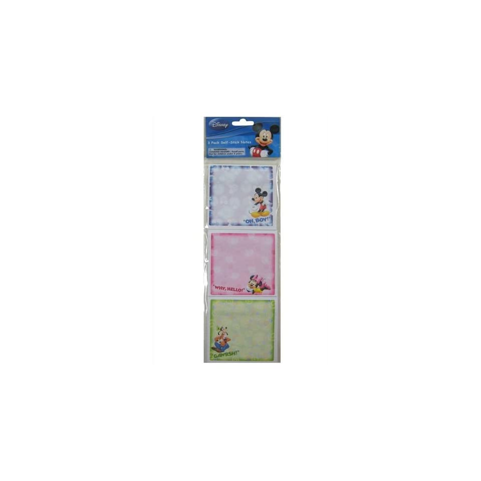 Disney Mickey Minnie Mouse and Goofy Sticky Notes (6 Pads) 2 Pack of 3